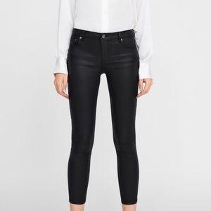 Zara black coated jeans